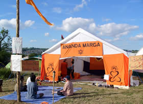 "Ananda Marga's ""Baba Nam Kevalam Tent"" at Glastonbury"
