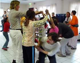 Playing with children from the Refugee Centre