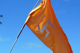 The orange swastika flag