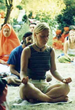 Meditation outside at Madhu Karuna, Germany
